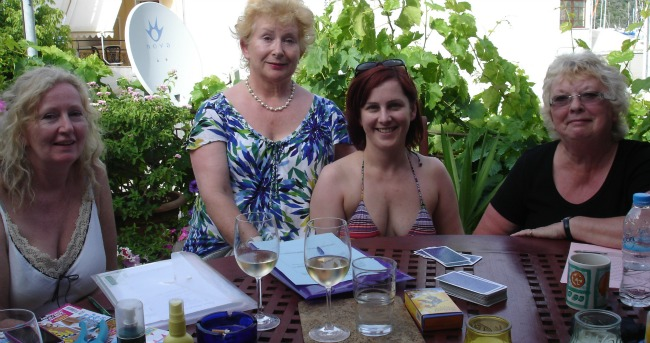 tarot courses on the terrace at the Greek Island Summer School